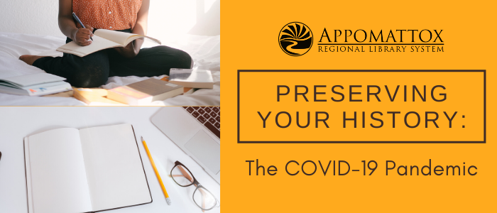 """A human sitting on her knees, writing, and with books scattered around her. Below her is a blank journal, a pencil, glasses, and a macbook. Then to the right in yellow with black type is the words """"preserving your history: The COVID-19 Pandemic and the library's logo"""