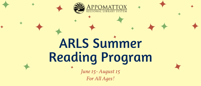 Yellow background with green and yellow stars. The words ARLS Summer Reading Program June 15-August 15 for All Ages