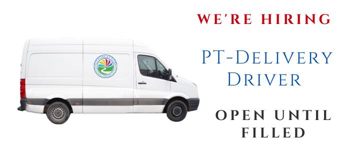 """A white van with the ARLS color circle logo on the van. The words """"We're hiring, PT-Delivery Driver, Open Until Filled in red, blue, and black lettering"""