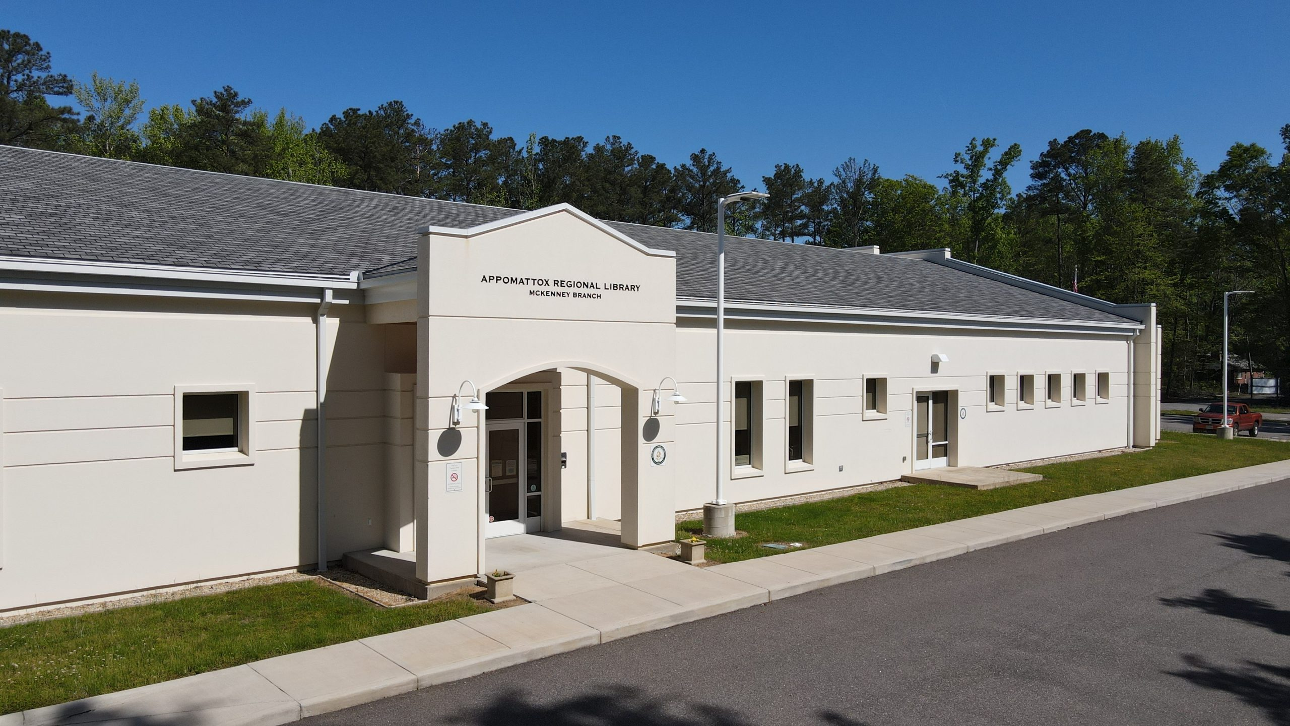 McKenney Library, a large white stucco building