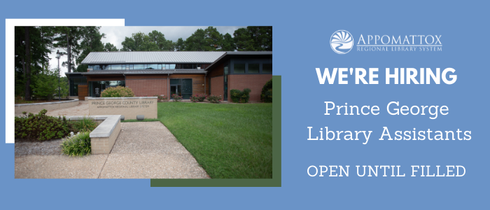 """A picture of the Prince George Library with a blue background with the words in white saying """"We're Hiring Prince George Library Assistants. Open until filled."""" The ARLS logo is in white above the words, which are to the right of the picture. The picture is framed by a white and green frame edges."""